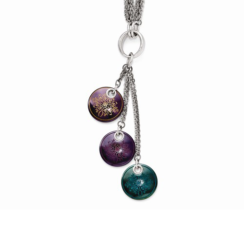 Edward Mirell Black Ti Multi-color Anodized & Sterling Silver Necklace