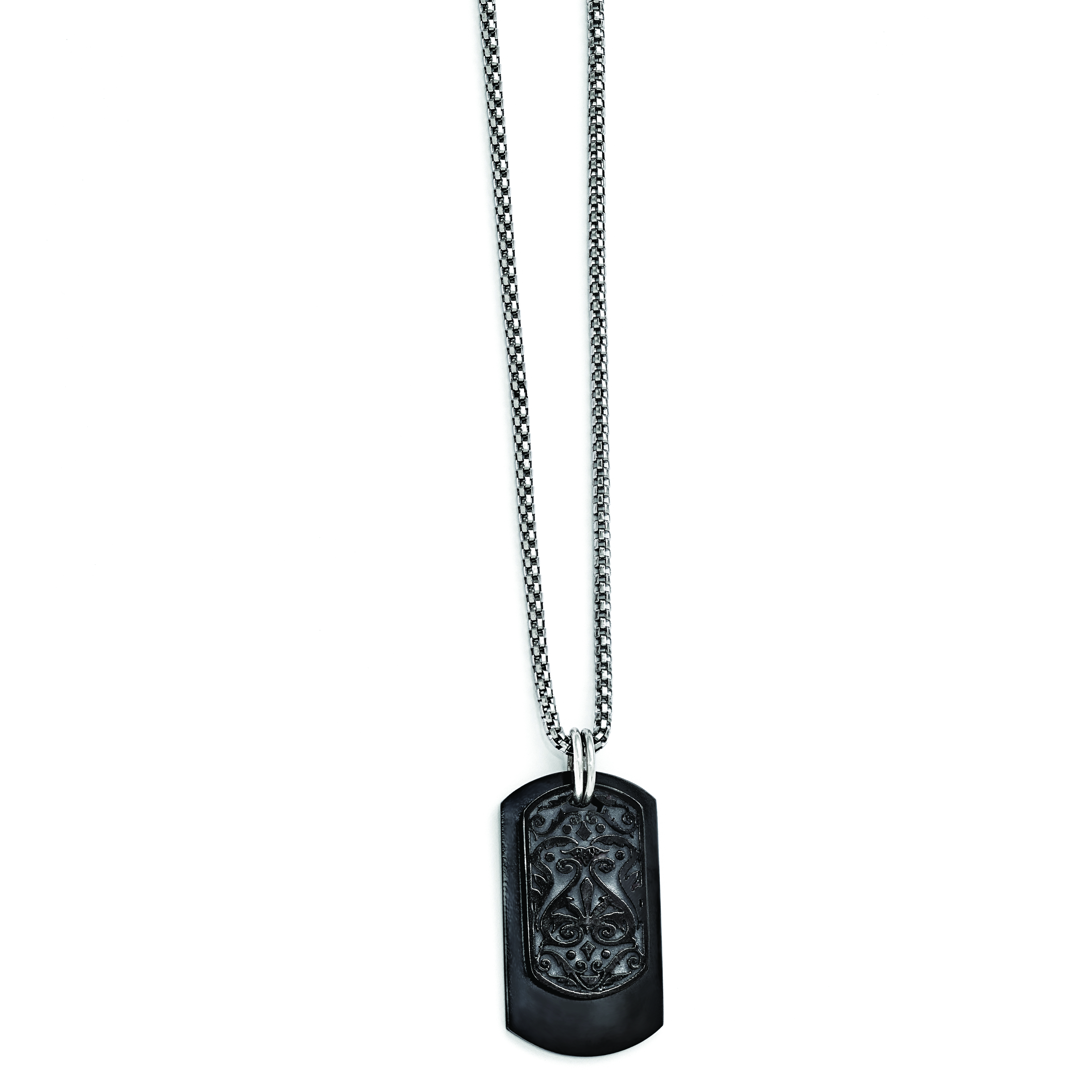 Edward Mirell Black Ti & Sterling Silver Dog Tag Pendant Necklace