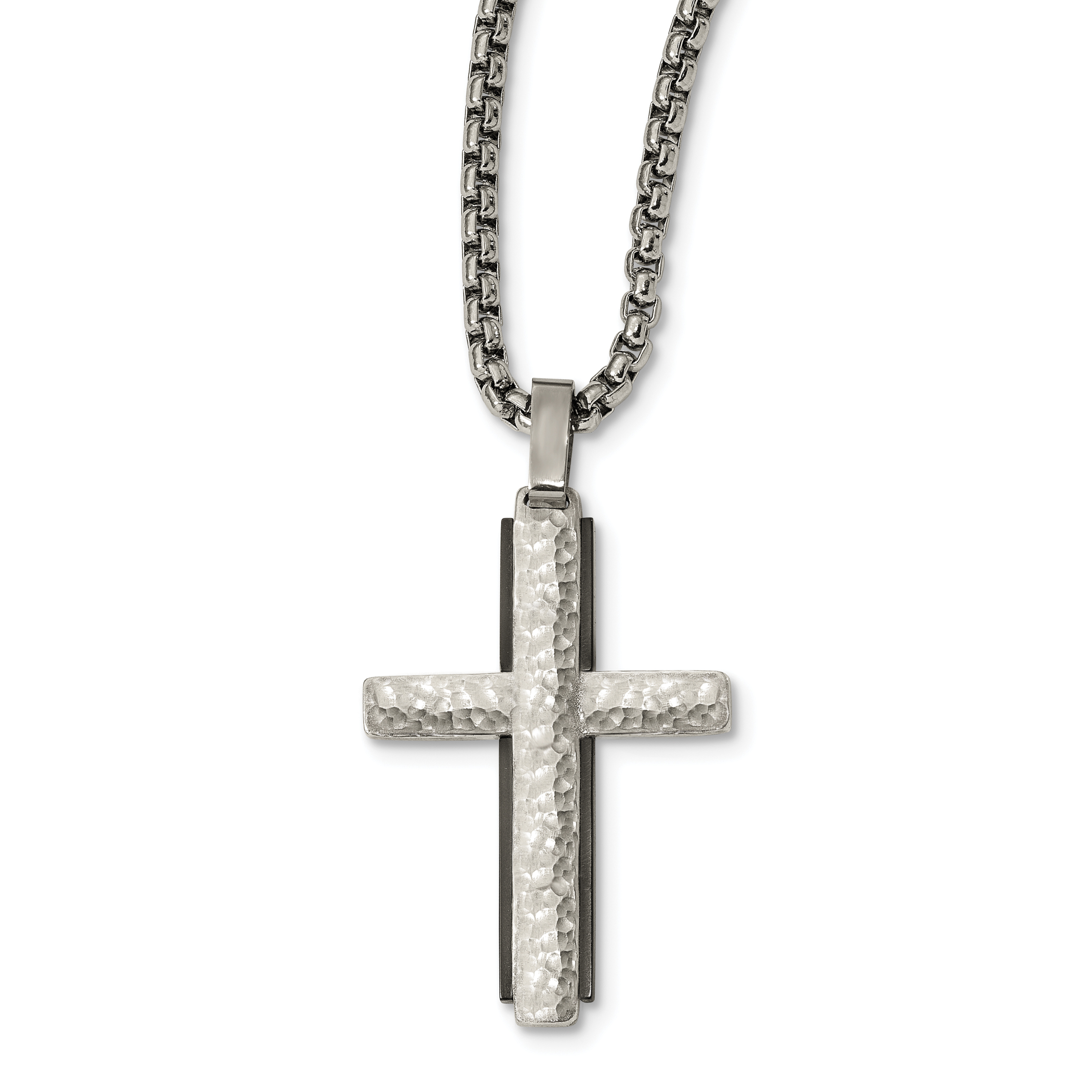 Edward Mirell Argentinium Sterling Silver Black Ti Hammered Cross Necklace