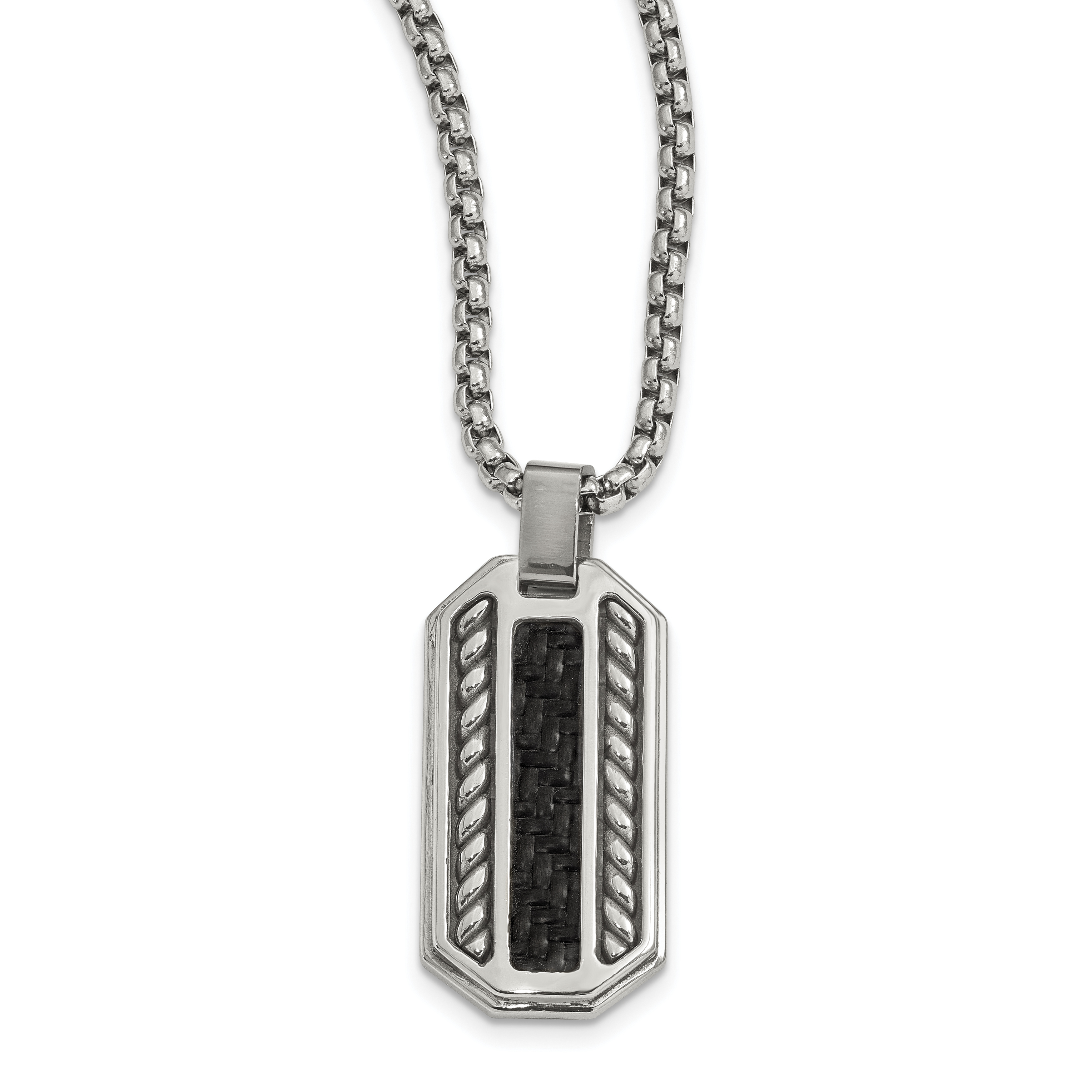 Edward mirell stainless steel black carbon fiber dog tag pendant edward mirell stainless steel black carbon fiber dog tag pendant necklace aloadofball Gallery