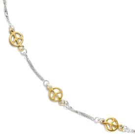 Sterling Silver Gold-tone 18k Flash Plated Anklet Adj. (9-10)