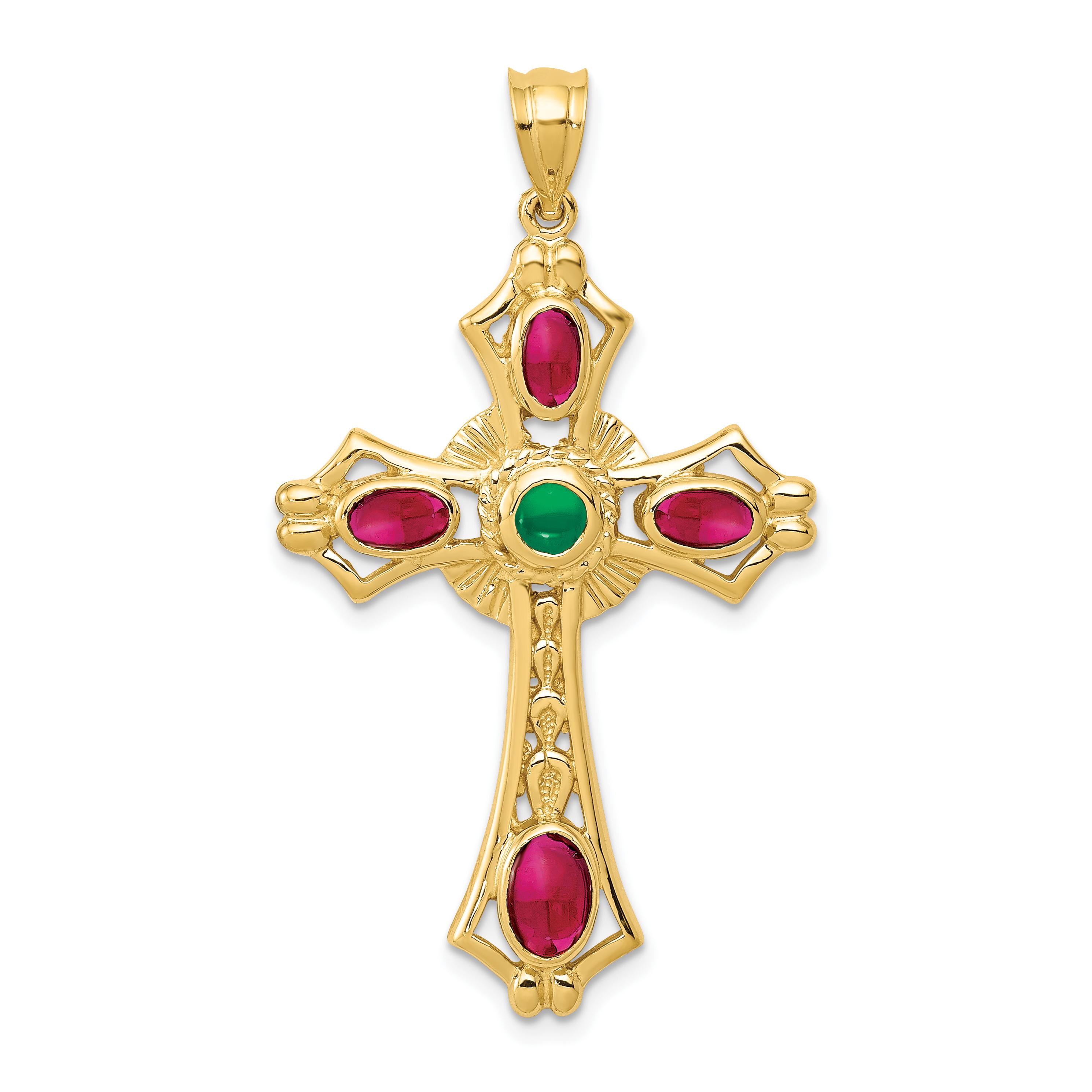 14k Ruby & Emerald Cabochon Cross Pendant. Weight: 3.6, Length: 44, Width: 25