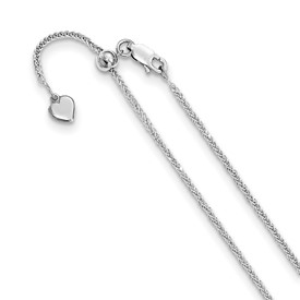 Sterling Silver Diamond-cut 11in Adjustable Wheat Chain