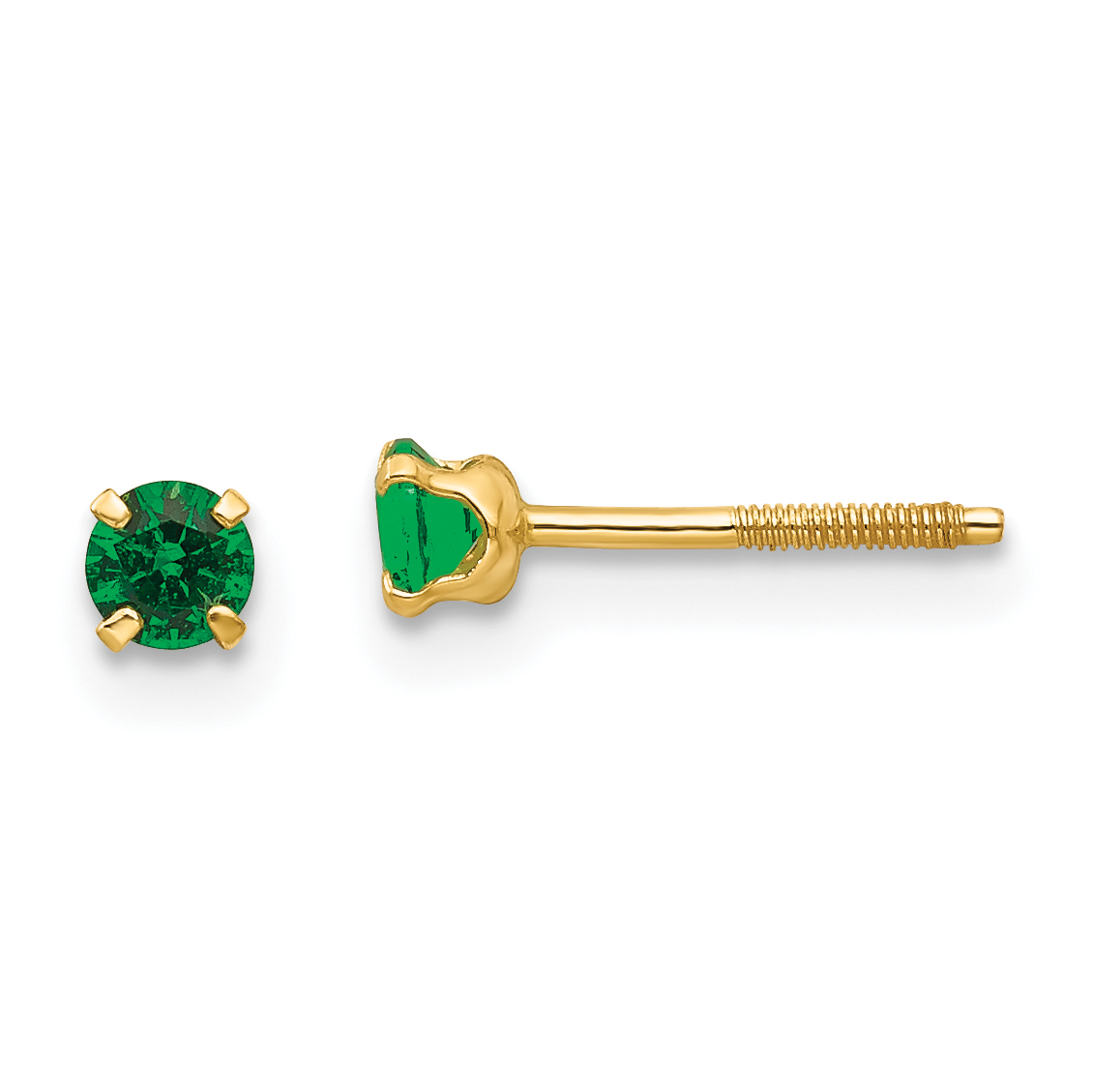 Image Is Loading 14k Madi K 3mm Synthetic Emerald Birthstone Earrings