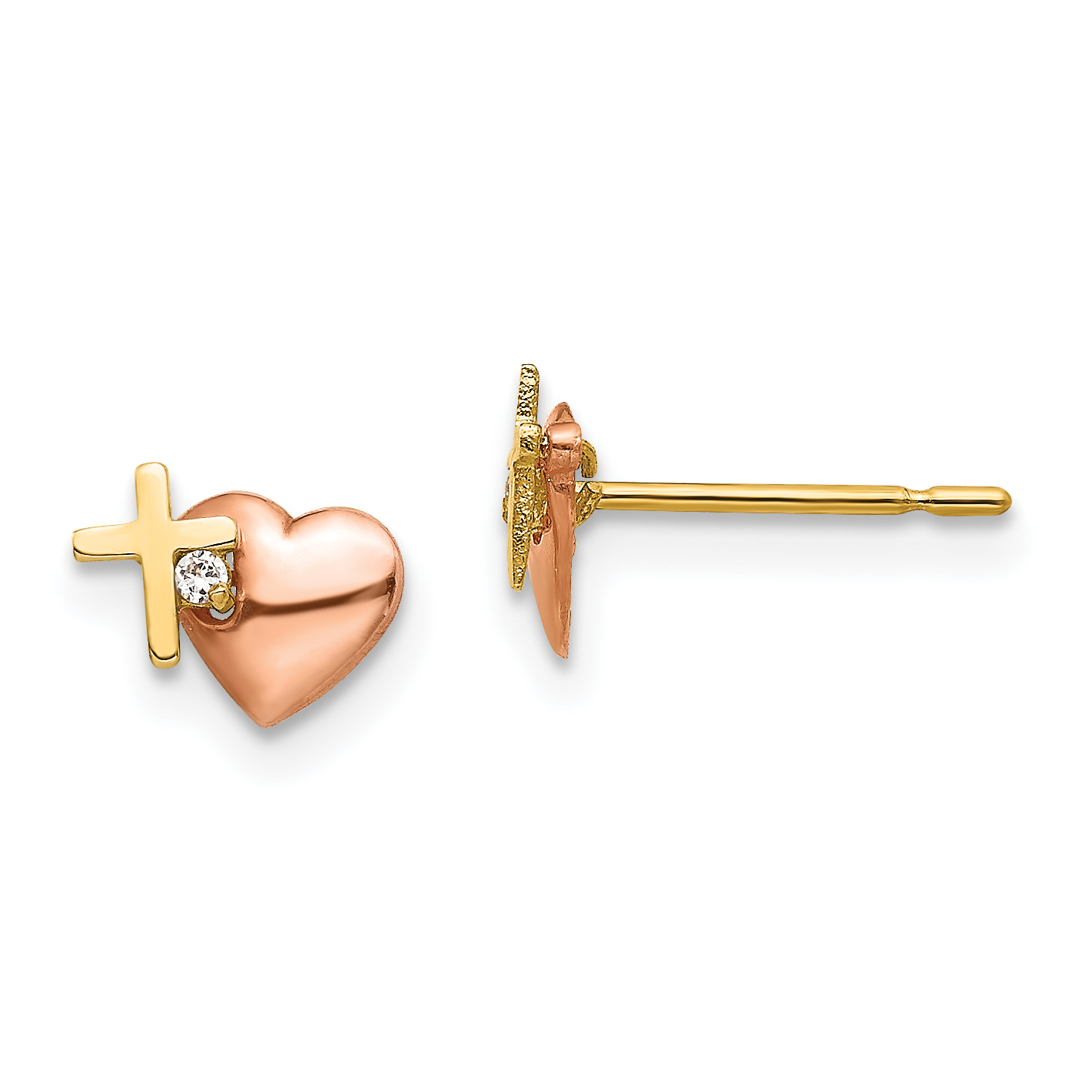 14k Yellow Gold Madi K Heart With Pink Simulated Cz Post Earrings