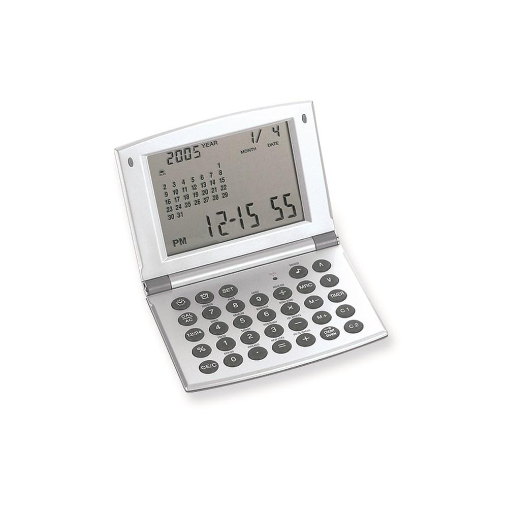 Satin Silver-tone Finish World Time Alarm Clock and Calculator