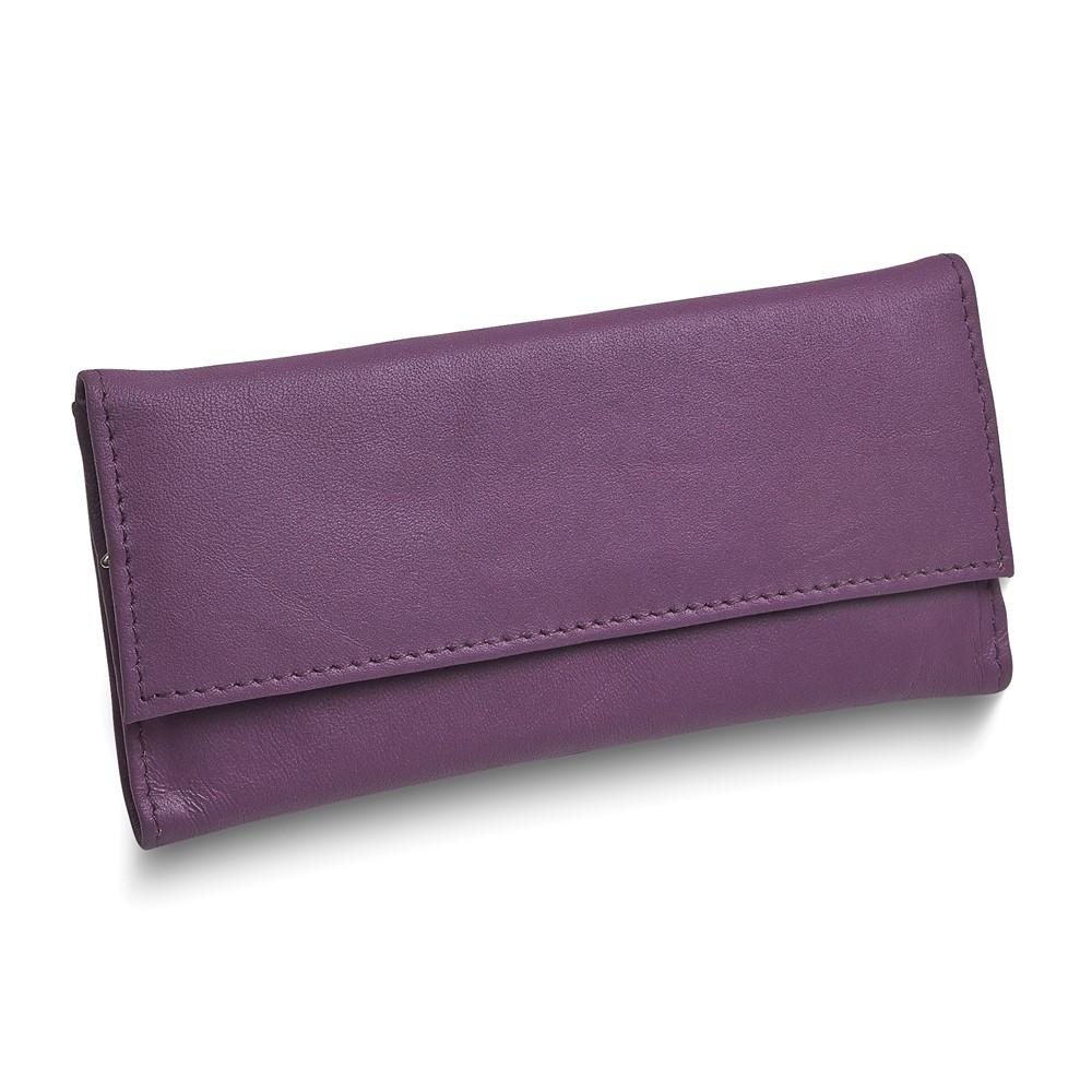 Purple Leather Slim Jewelry Wallet