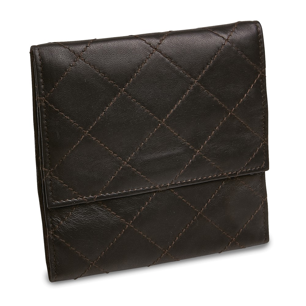 Black Leather Quilted Jewelry Folder