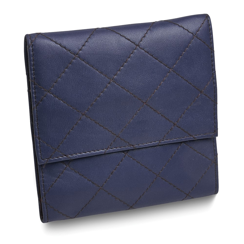 Blue Leather Quilted Jewelry Folder