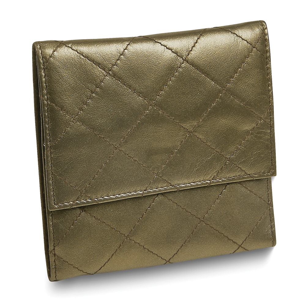 Pewter Leather Quilted Jewelry Folder