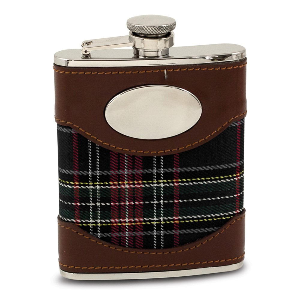 Stainless Steel Blue Fabric Flask 6oz