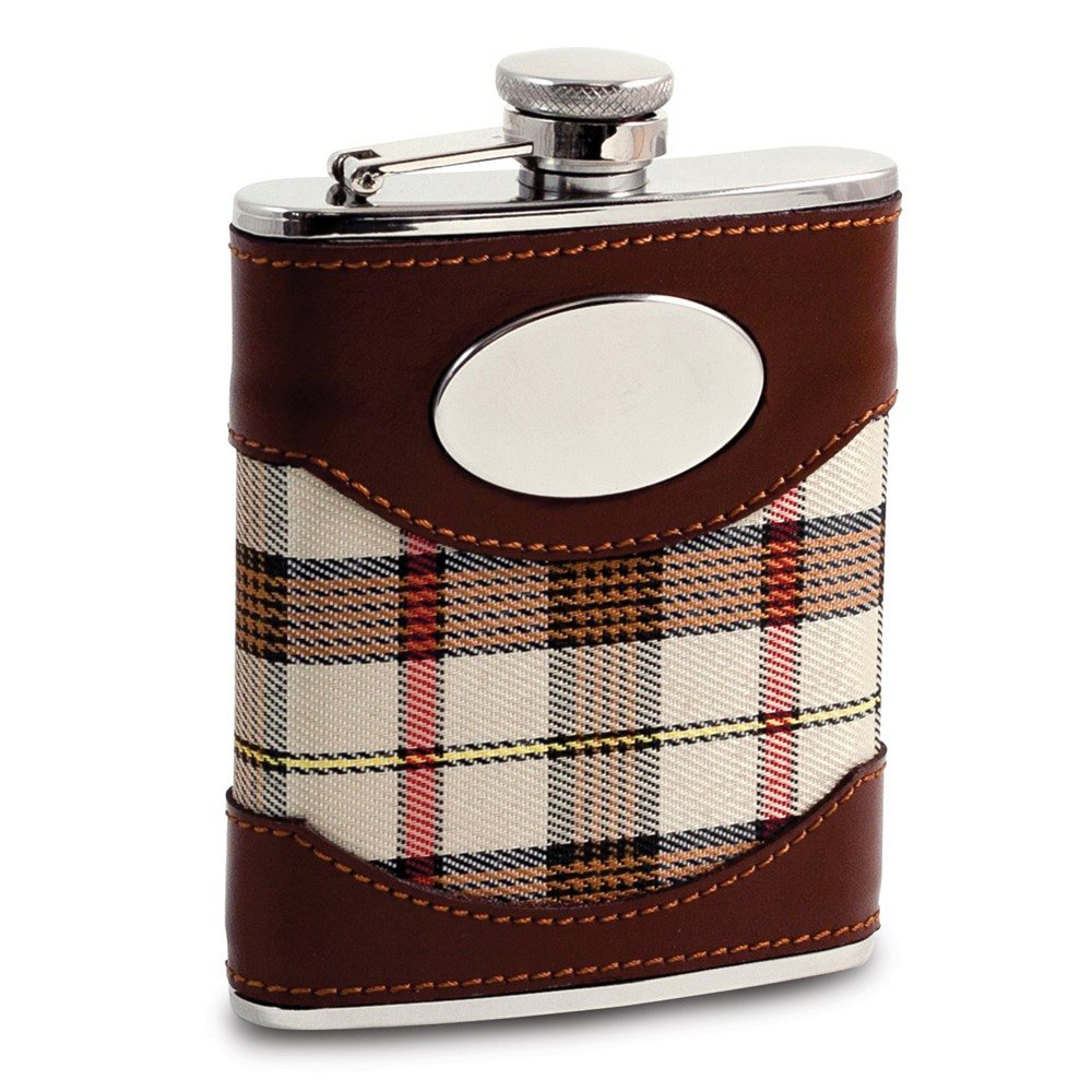 Stainless Steel Beige Fabric Flask 6oz