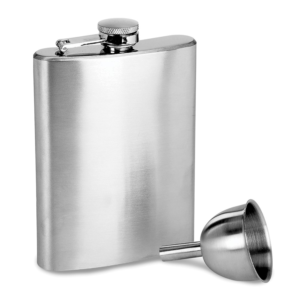 Satin Stainless Steel 8oz Flask with Funnel
