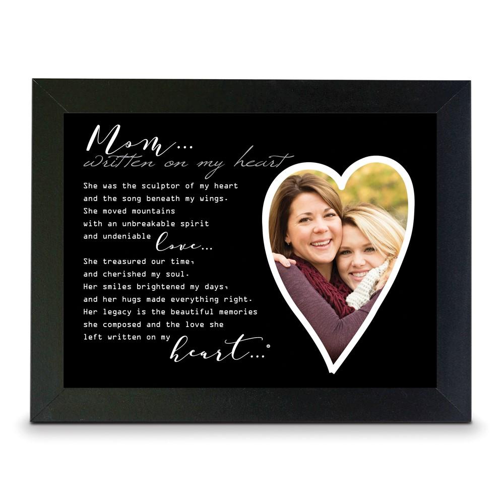 Written on my Heart 4x6 or 5x7 Photo Mom Black Wood Memorial Frame