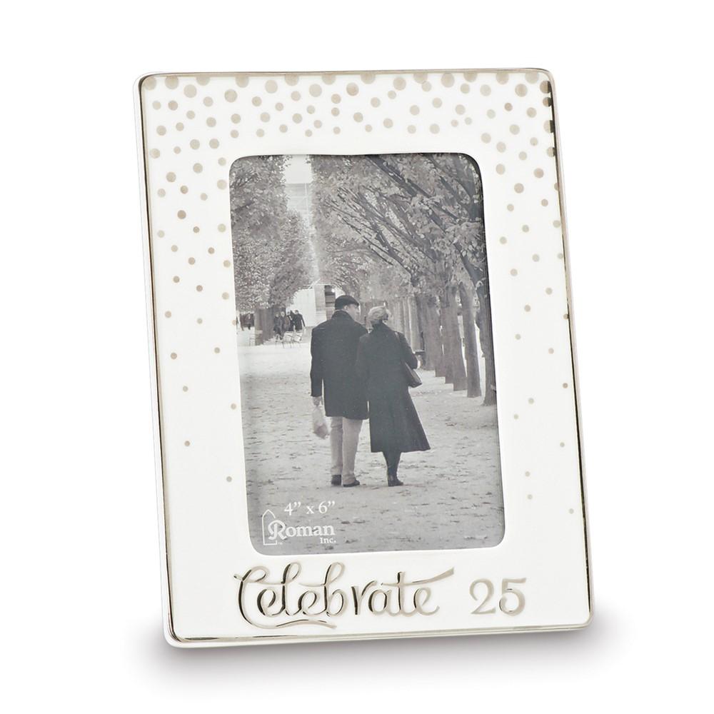 Porcelain & Silver-tone 4x6 Celebrate 25 Photo Frame