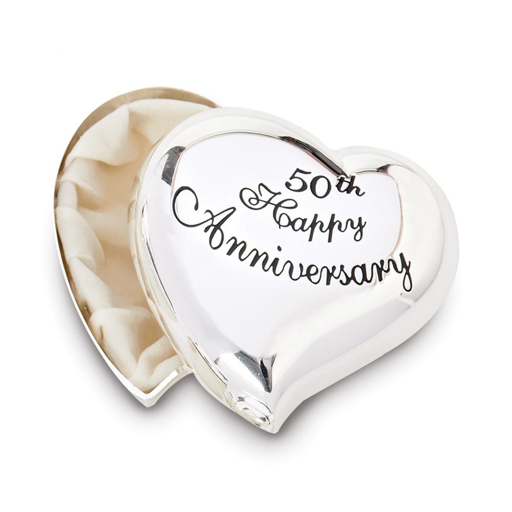 Silver-tone 50th Anniversary Heart Keepsake Box