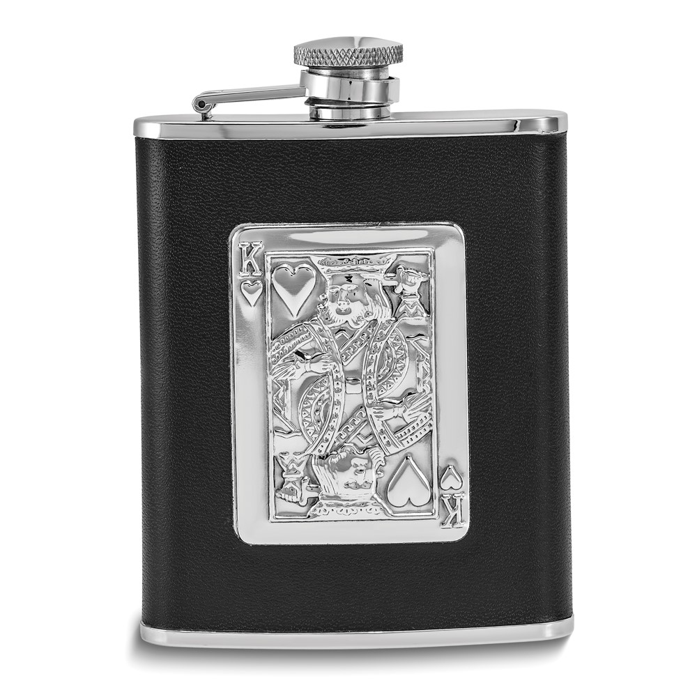Silver-tone with Black Leather King of Hearts 6oz Flask