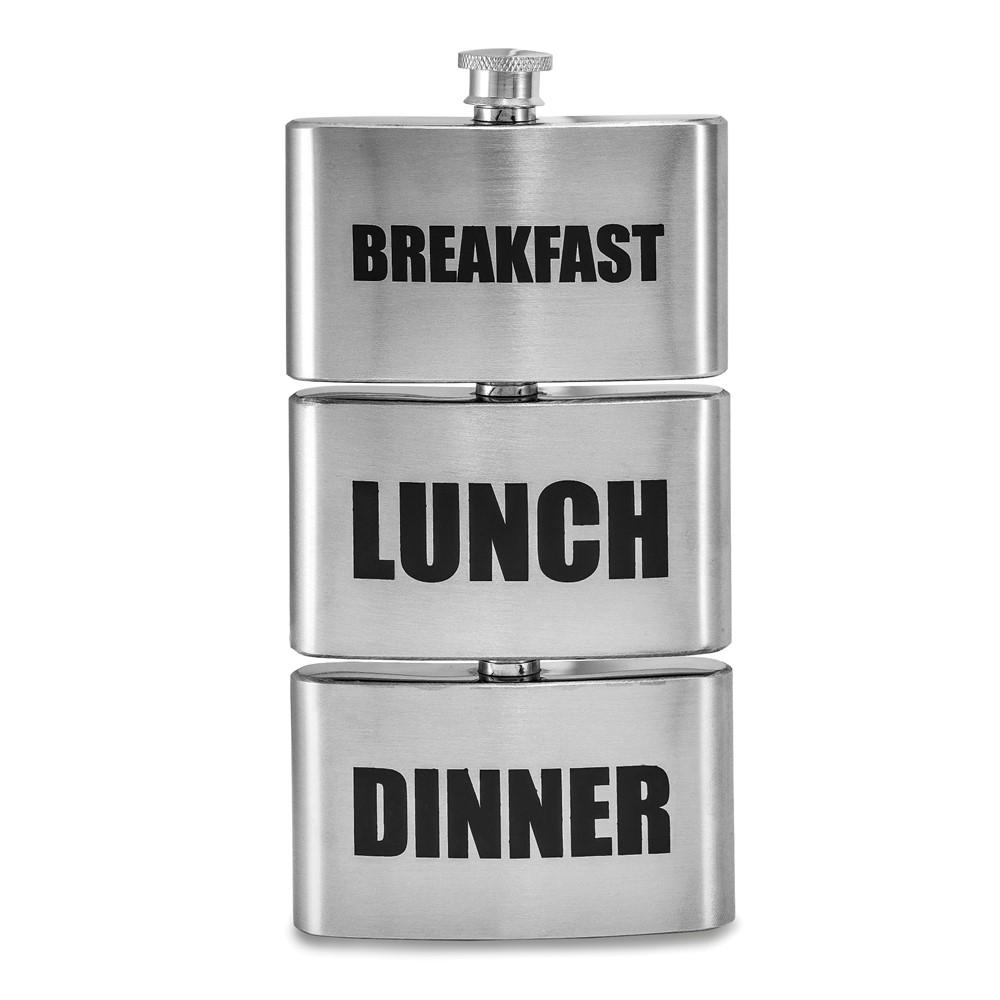 Stainless Steel Breakfast, Lunch, Dinner 3 Piece Set of Flasks