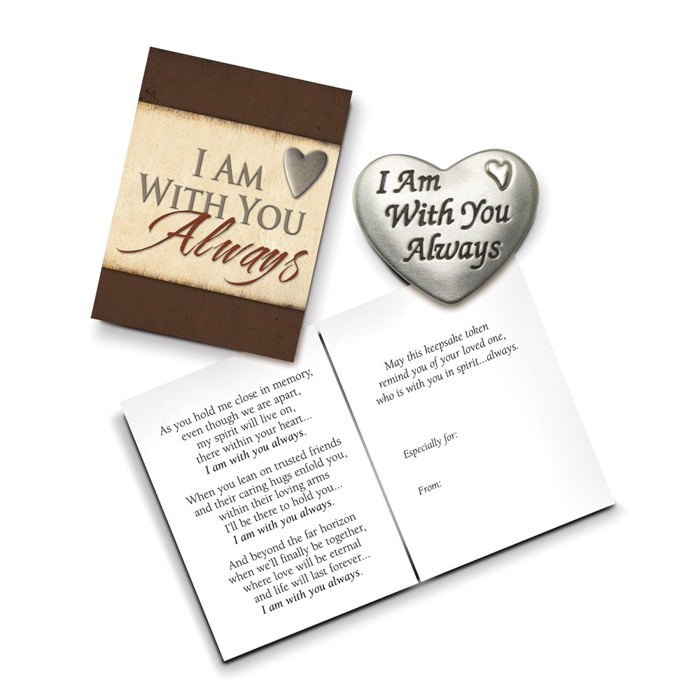 Silver-tone Enamel I Am With You Always Pocket Token Gift Boxed w/Card
