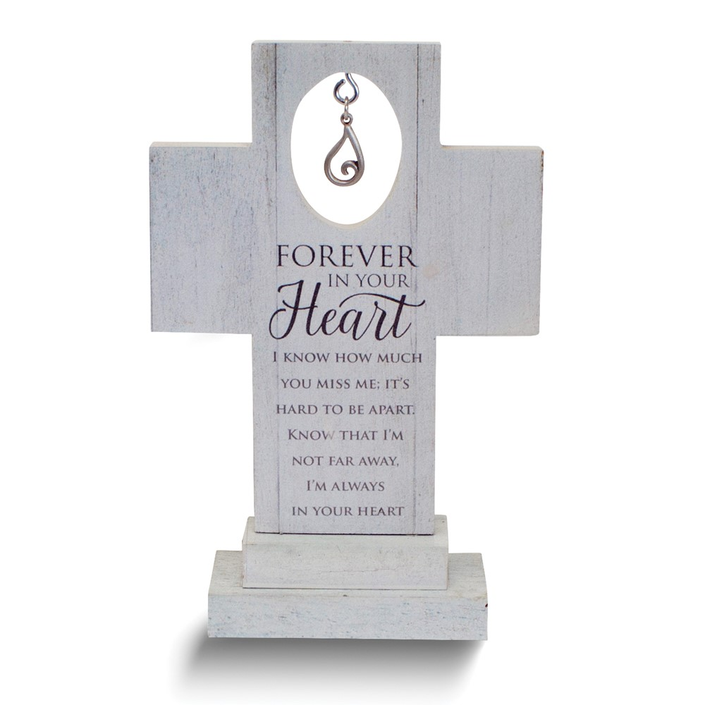 Forever In Your Heart 6 Standing Cross w/Tear Charm Gift Boxed