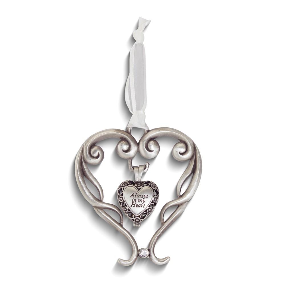 Always In My Heart Ash Silver-tone Enamel Heart Locket Ornament