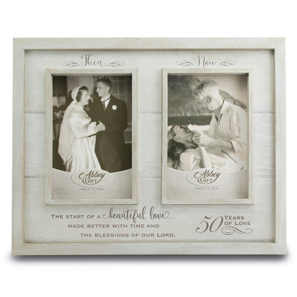 Then and Now 50th Anniversary Wood Frame Boxed