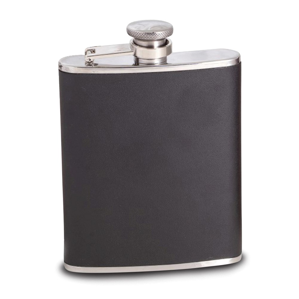 6 oz Stainless Steel Black Leather Flask