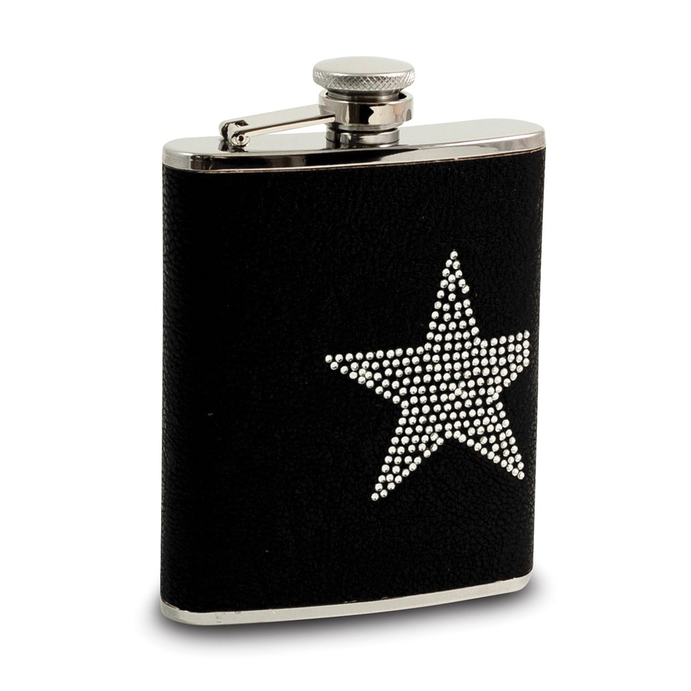 6 oz Stainless Steel Black Leatherette Flask w/Crystal Star