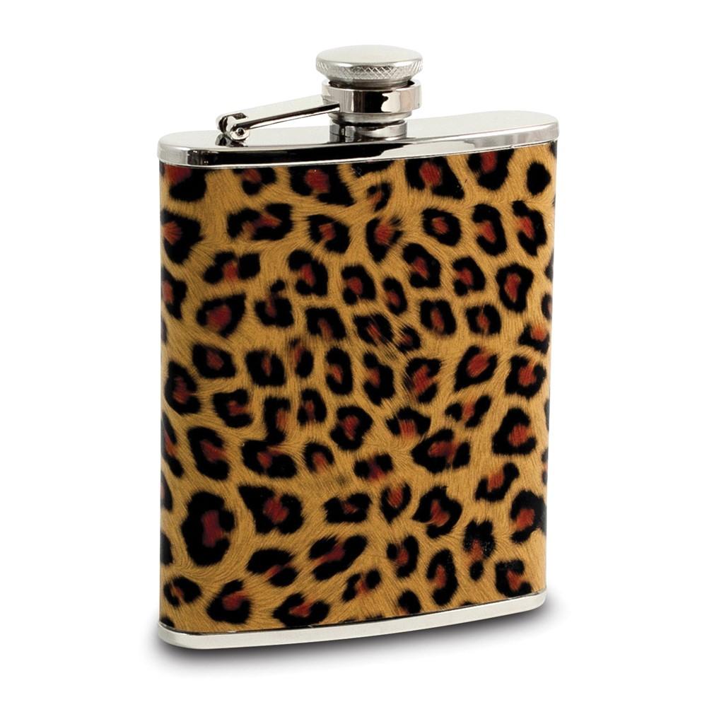 6 oz Stainless Steel Leopard Pattern Flask