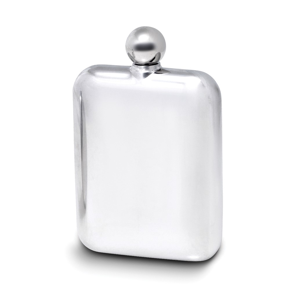 6 oz Stainless Steel Mirror Finish Flask w/Rounded Corners