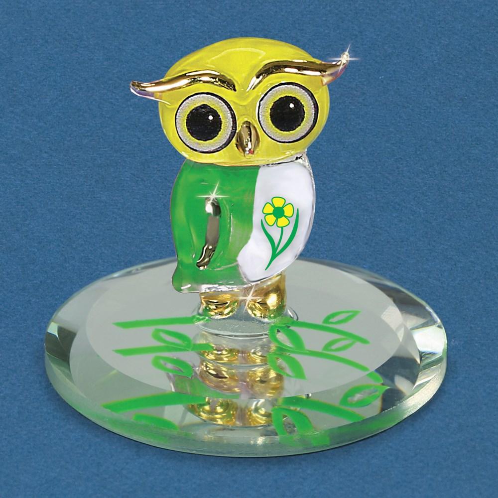 Daisy Owl Glass Figurine