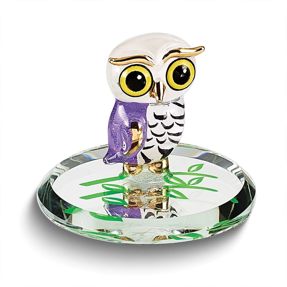 Snowy Owl Glass Figurine