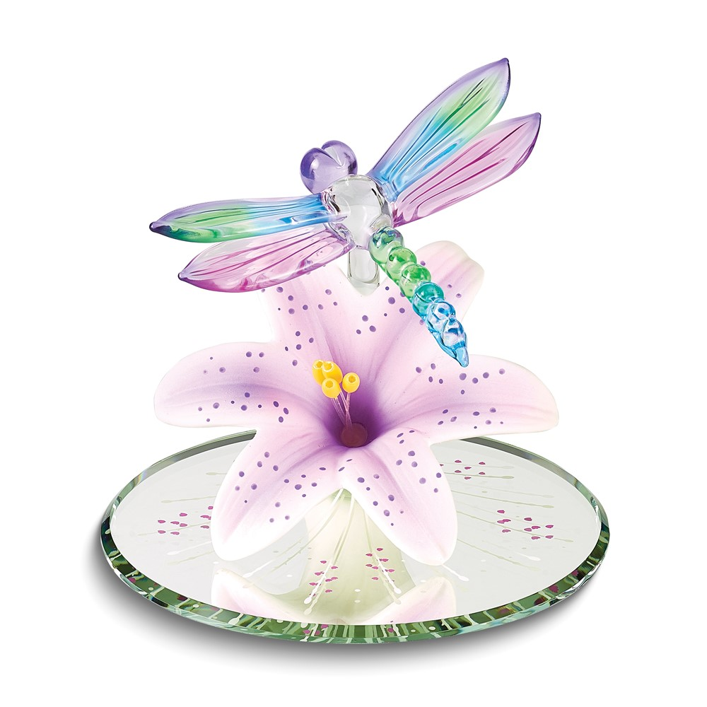 Colorful Dragonfly and Lavender Lily w/ Base Glass Figurine
