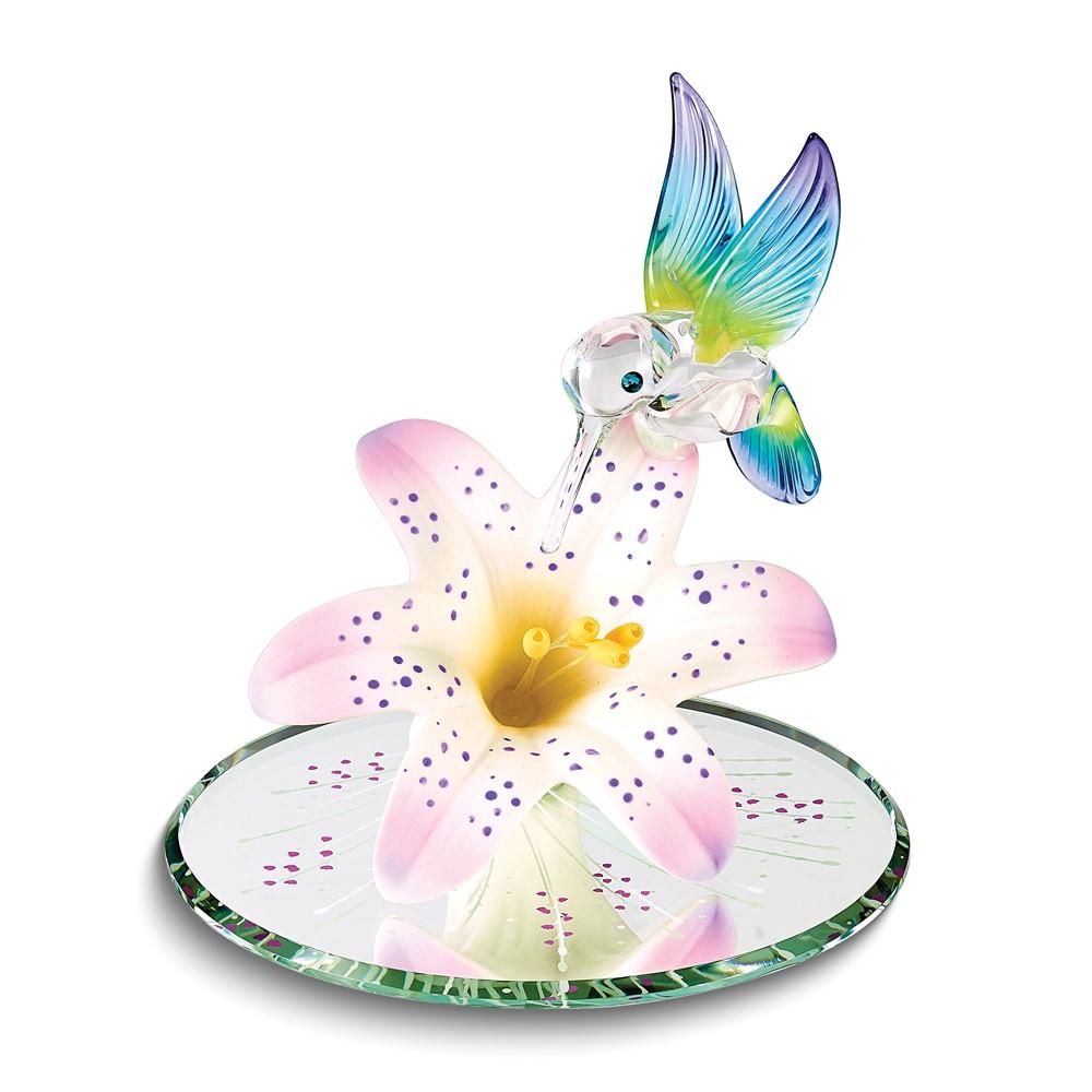 Rainbow Hummingbird & Lavender Lily w/ Base Glass Figurine