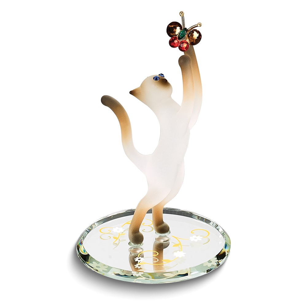 Siamese Cat and Butterfly Glass Figurine