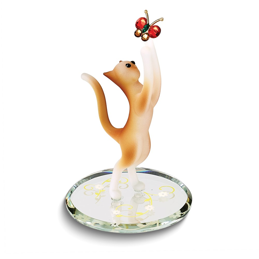 Tabby Cat and Butterfly Glass Figurine