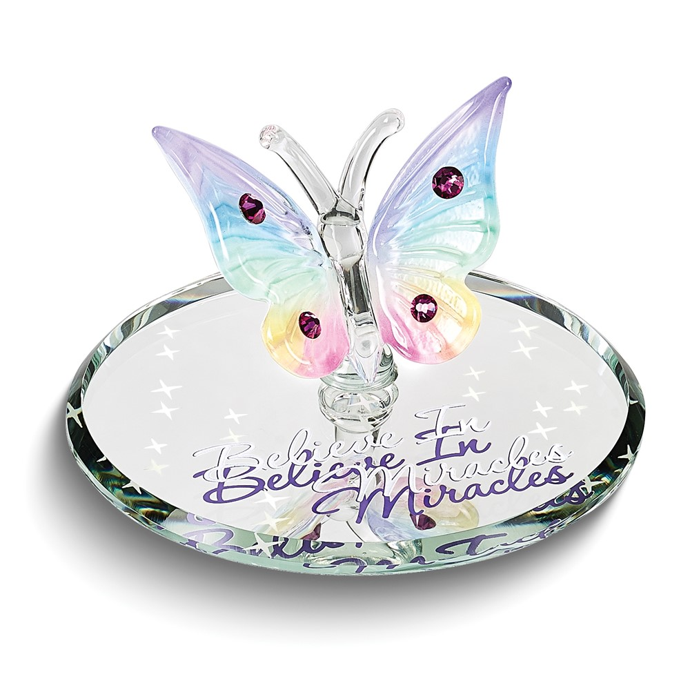 Believe in Miracles Butterfly Glass Figurine