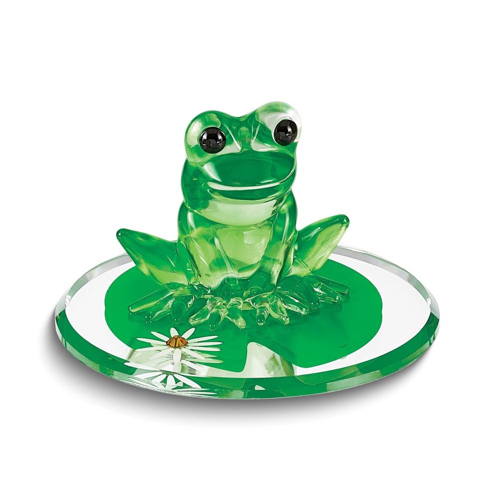 Frog & Lily Pad Glass Figurine
