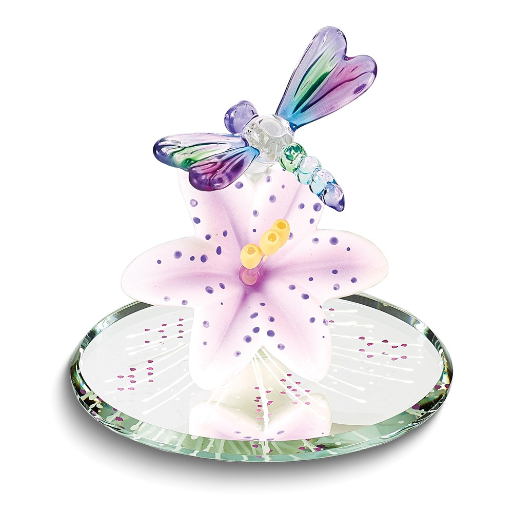 Dragonfly and Lavender Lily w/ Base Glass Figurine