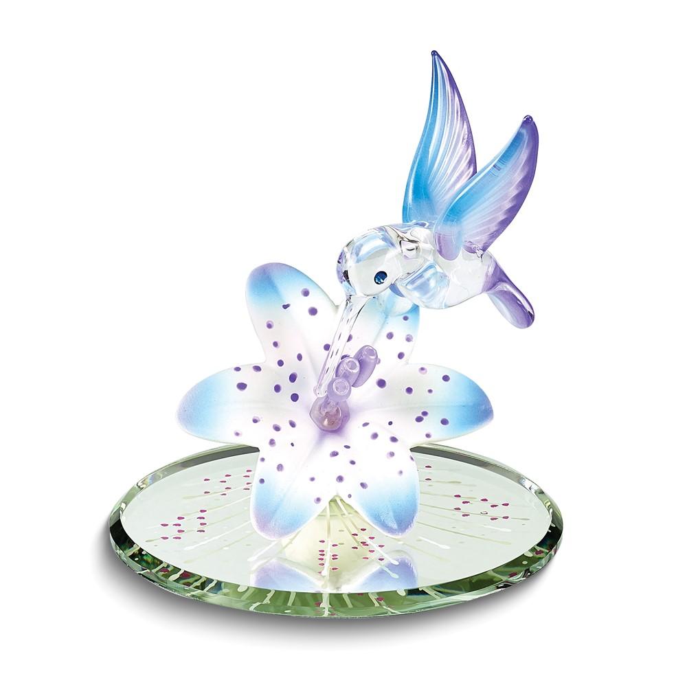 Hummingbird and Blue Lily w/ Base Glass Figurine