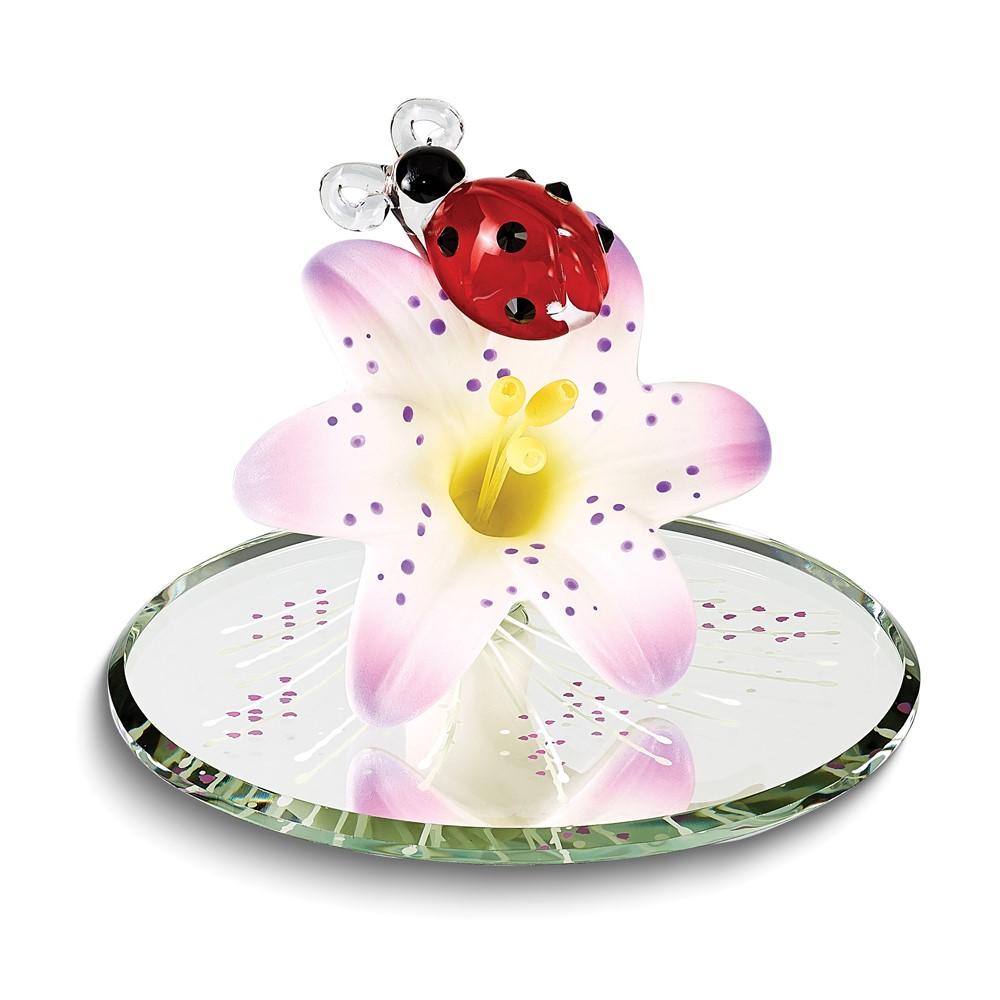 Ladybug on Lily Glass Figurine