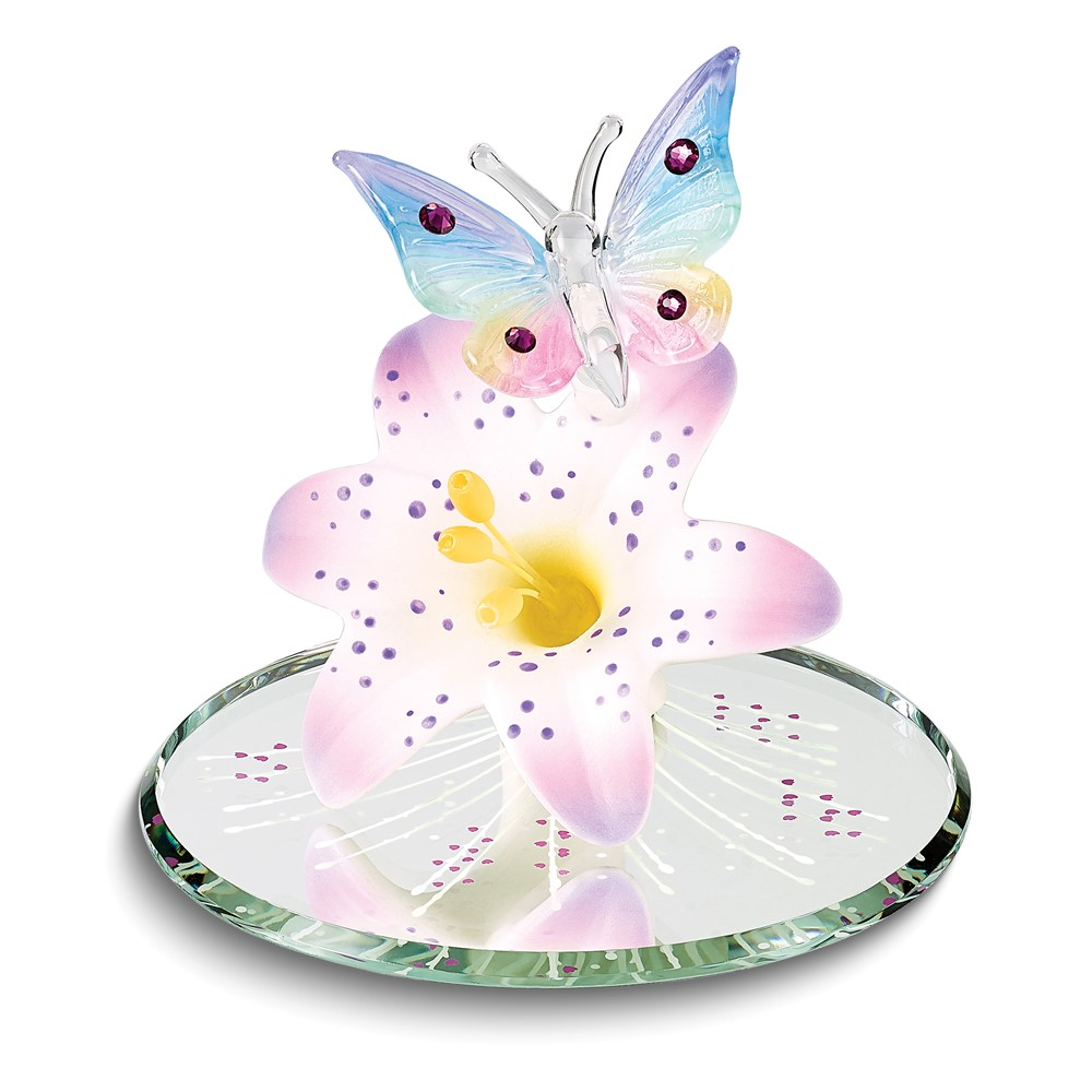 Butterfly and Lavender Lily w/ Base Glass Figurine