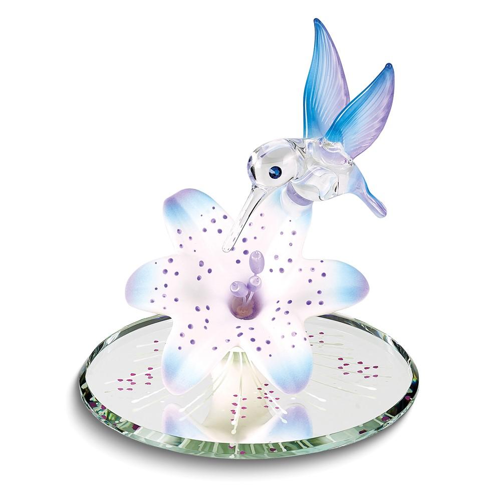 Blue Hummingbird and Blue Lily w/ Base Glass Figurine
