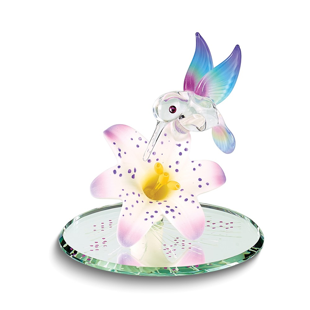 Hummingbird and Lavender Lily w/ Base Glass Figurine