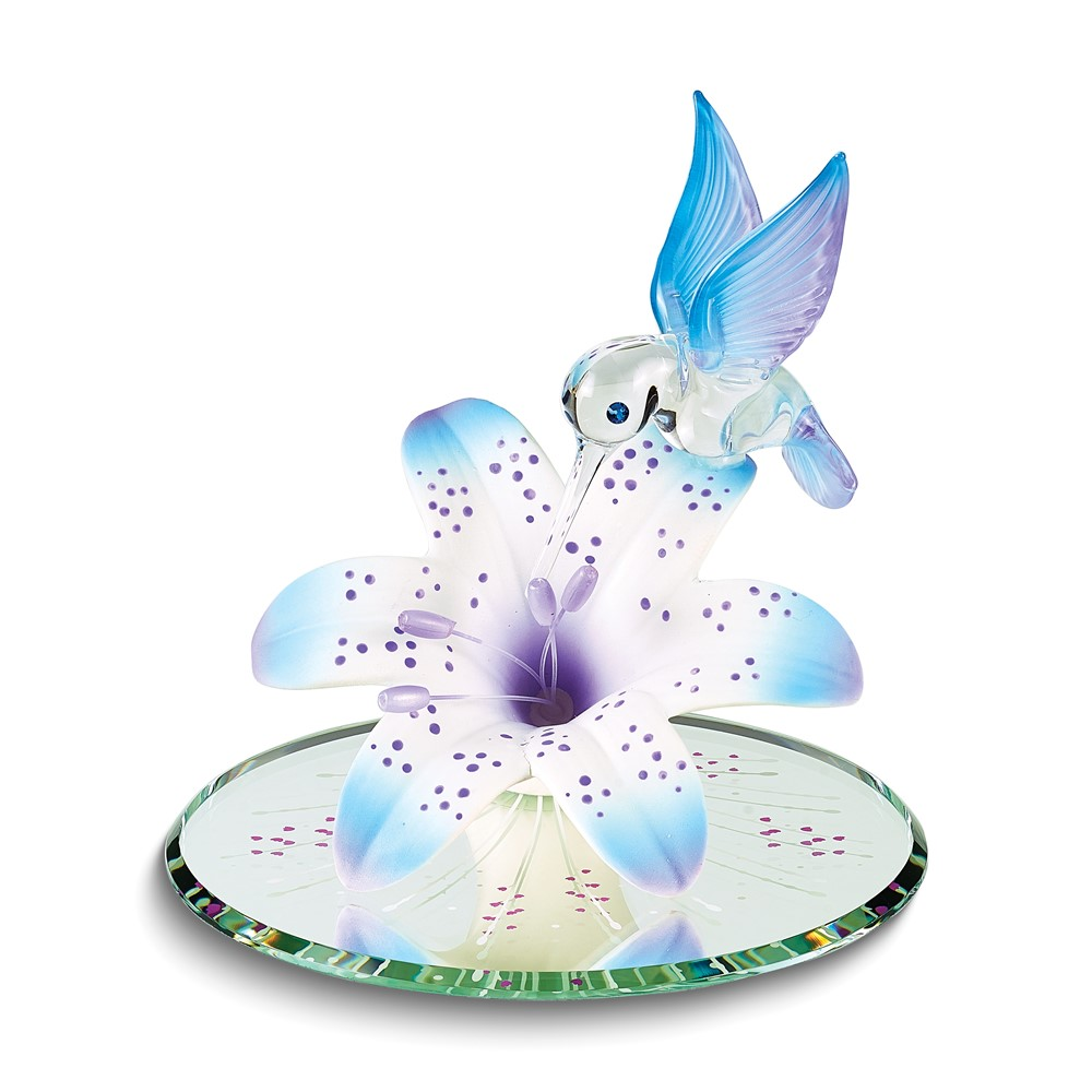 Blue and Purple Hummingbird and Lily w/ Base Glass Figurine