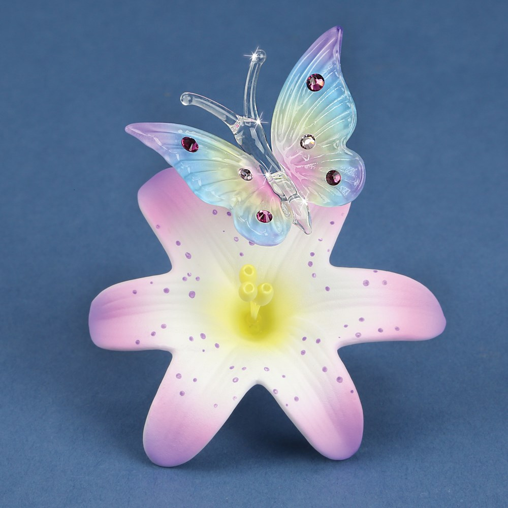 Rainbow Butterfly and Lavender Lily Glass Figurine