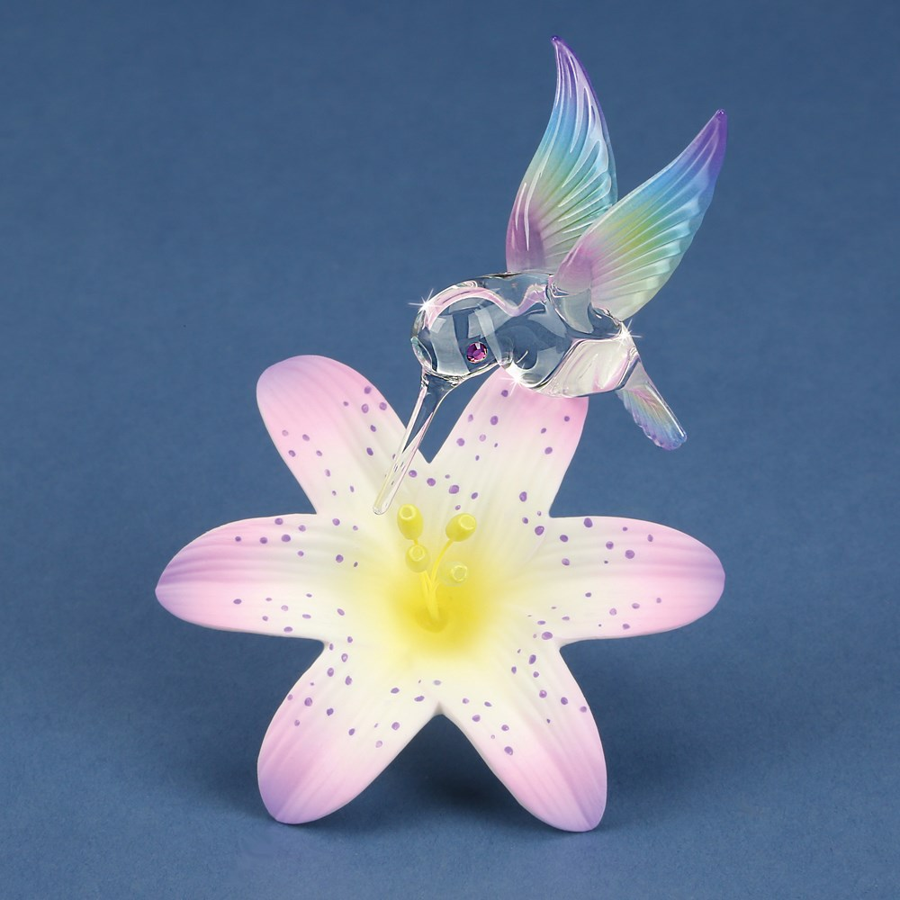 Hummingbird and Lavender Lily Glass Figurine