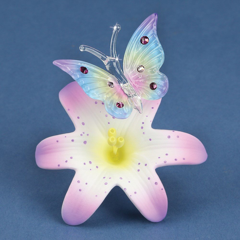 Butterfly and Lavender Lily Glass Figurine