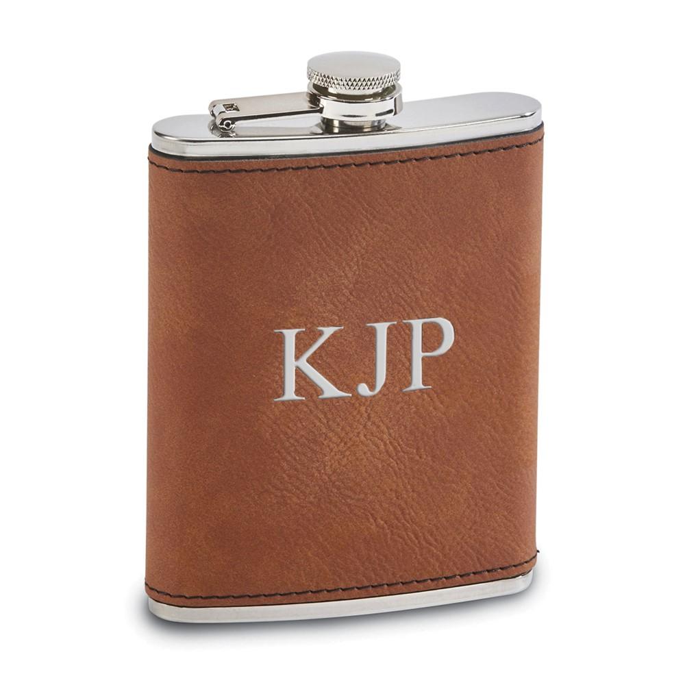 Caramel Leatherette 8 oz. Flask