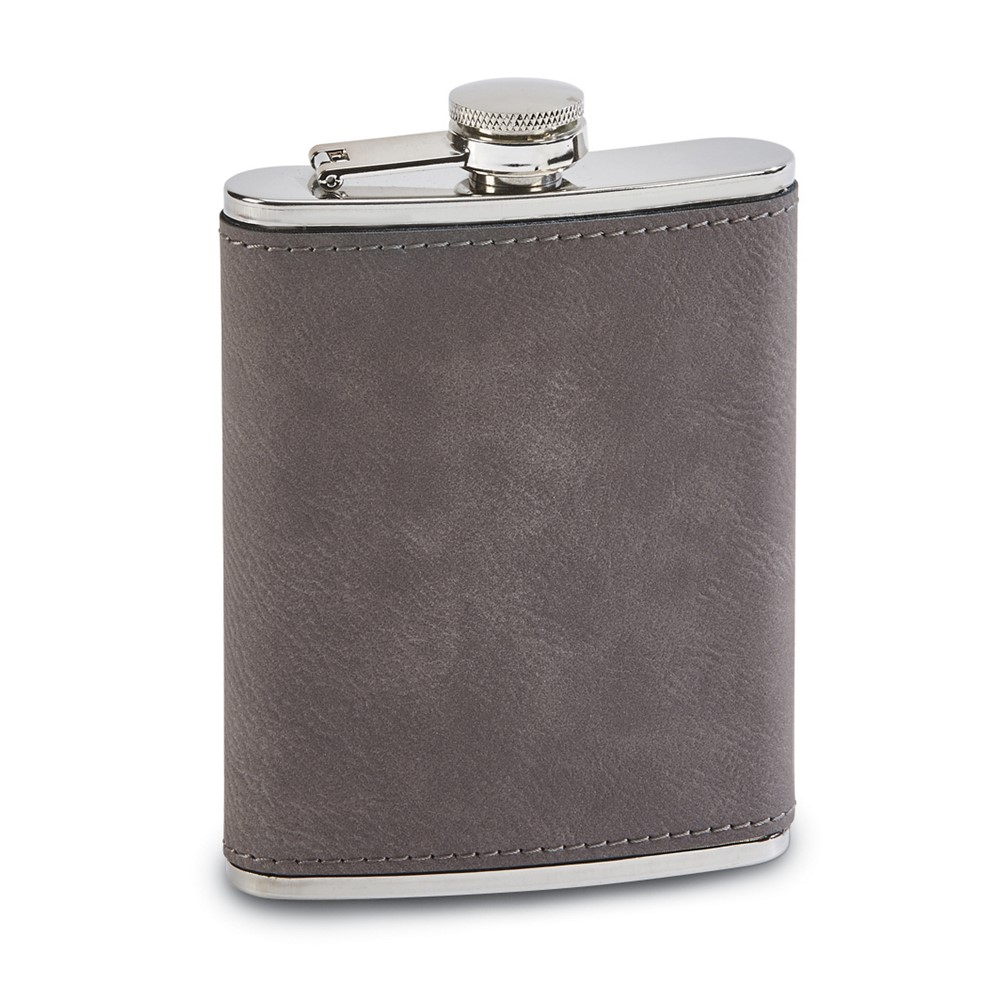 Grey Leatherette 8 oz. Flask